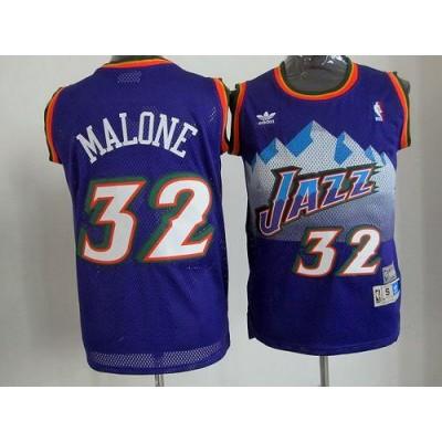 Jazz #32 Karl Malone Purple Throwback Stitched NBA Jersey