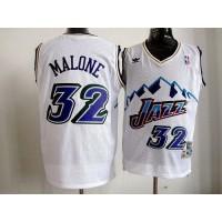 Jazz #32 Karl Malone White Throwback Stitched NBA Jersey