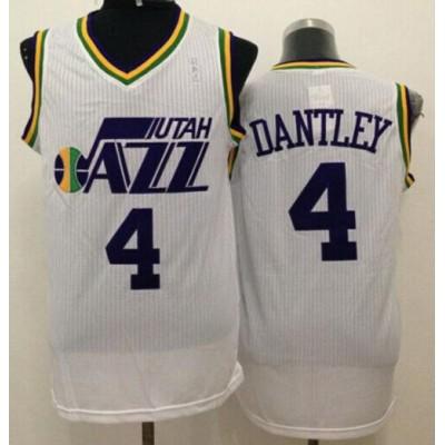 Jazz #4 Adrian Dantley White Throwback Stitched NBA Jersey