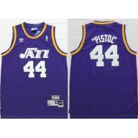 Jazz #44 Pete Maravich Purple Pistol Soul Swingman Stitched NBA Jersey