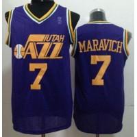 Jazz #7 Pete Maravich Purple Throwback Stitched NBA Jersey