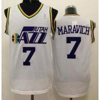 Jazz #7 Pete Maravich White Throwback Stitched NBA Jersey