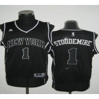 Knicks #1 Amare Stoudemire Black Shadow Stitched NBA Jersey