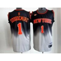 Knicks #1 Amare Stoudemire BlackGrey Fadeaway Fashion Stitched NBA Jersey