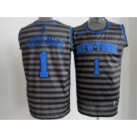 Knicks #1 Amare Stoudemire BlackGrey Groove Stitched NBA Jersey