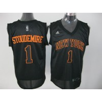 Knicks #1 Amare Stoudemire Swingman Black With Orange Number Stitched NBA Jersey