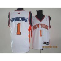 Knicks #1 Amare Stoudemire White Stitched NBA Jersey