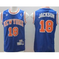 Knicks #18 Phil Jackson Blue Throwback Stitched NBA Jersey