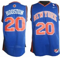 Knicks #20 Allan Houston Blue Throwback Stitched NBA Jersey
