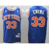 Knicks #33 Patrick Ewing Blue Throwback Stitched NBA Jersey