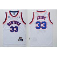 Knicks #33 Patrick Ewing White Throwback Stitched NBA Jersey