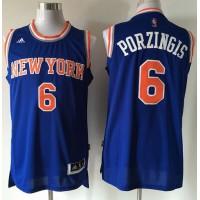 Knicks #6 Kristaps Porzingis Blue Stitched NBA Jersey
