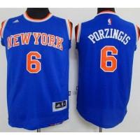 Knicks #6 Kristaps Porzingis Blue Stitched Youth NBA Jersey