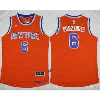 Knicks #6 Kristaps Porzingis Orange Alternate Stitched NBA Jersey