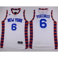 Knicks #6 Kristaps Porzingis White Hardwood Classics Performance Stitched NBA Jersey