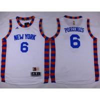 Knicks #6 Kristaps Porzingis White Hardwood Classics Performance Stitched Youth NBA Jersey
