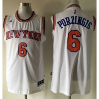 Knicks #6 Kristaps Porzingis White Stitched NBA Jersey