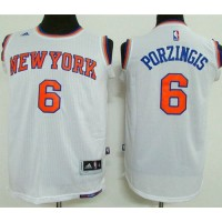 Knicks #6 Kristaps Porzingis White Stitched Youth NBA Jersey