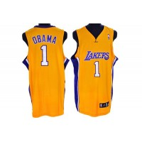 Lakers #1 President Obama Stitched Yellow NBA Jersey