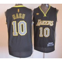 Lakers #10 Steve Nash Black Electricity Fashion Stitched NBA Jersey