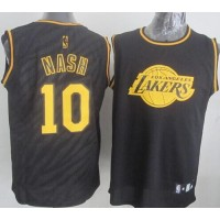 Lakers #10 Steve Nash Black Precious Metals Fashion Stitched NBA Jersey