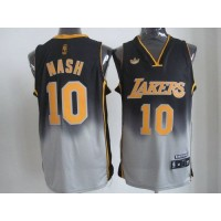 Lakers #10 Steve Nash BlackGrey Fadeaway Fashion Stitched NBA Jersey