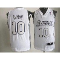 Lakers #10 Steve Nash White Big Color Fashion Stitched NBA Jersey