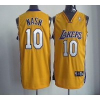 Lakers #10 Steve Nash Yellow Home Revolution 30 Stitched NBA Jersey