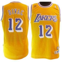 Lakers #12 Vlade Divac Yellow Throwback Stitched NBA Jersey