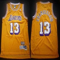 Lakers #13 Wilt Chamberlain Yellow Throwback Stitched NBA Jersey