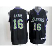Lakers #16 Pau Gasol Black Camo Fashion Stitched NBA Jersey