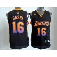 Lakers #16 Pau Gasol Black Stitched NBA Vibe Jersey