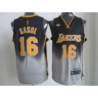 Lakers #16 Pau Gasol BlackGrey Fadeaway Fashion Stitched NBA Jersey