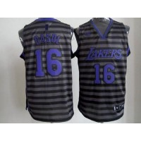 Lakers #16 Pau Gasol BlackGrey Groove Stitched NBA Jersey