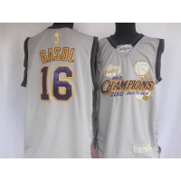 Lakers #16 Pau Gasol Grey 2010 Finals Champions Stitched NBA Jersey