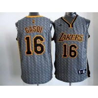 Lakers #16 Pau Gasol Grey Static Fashion Stitched NBA Jersey
