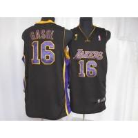Lakers #16 Pau Gasol Stitched Black Purple Number Champion Patch NBA Jersey