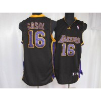 Lakers #16 Pau Gasol Stitched Black Purple Number NBA Jersey