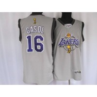 Lakers #16 Pau Gasol Stitched Grey 2010 Finals Commemorative NBA Jersey