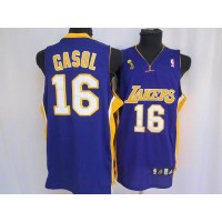 Lakers #16 Pau Gasol Stitched Purple Champion Patch NBA Jersey