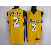 Lakers #2 Derek Fisher Stitched Yellow Champion Patch NBA Jersey