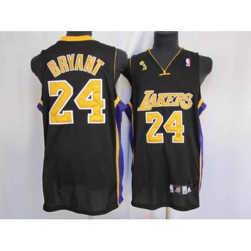 b0e89ea5a Lakers #24 Kobe Bryant Stitched Black Gold number Champion Patch NBA Jersey