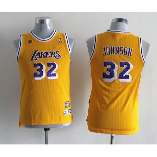 24eb85a4fe2 Lakers #32 Magic Johnson Yellow Throwback Stitched Youth NBA Jersey