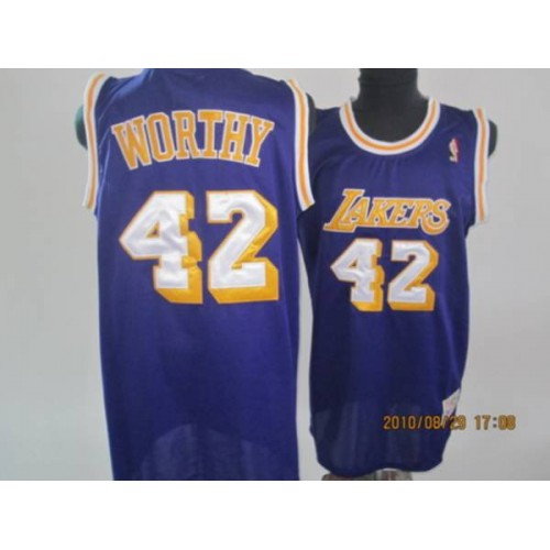 6084ab030 Lakers  42 James Worthy Stitched Purple Throwback NBA Jersey