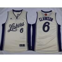 Lakers #6 Jordan Clarkson White 2015-2016 Christmas Day Stitched NBA Jersey