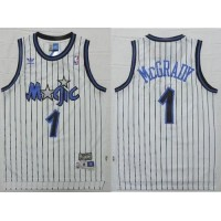 Magic #1 Tracy Mcgrady White Throwback Stitched NBA Jersey