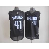 Mavericks #41 Dirk Nowitzki Black Dirkules Fashion Stitched NBA Jersey