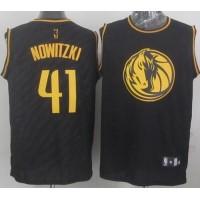 Mavericks #41 Dirk Nowitzki Black Precious Metals Fashion Stitched NBA Jersey