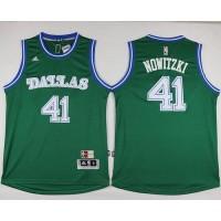 Mavericks #41 Dirk Nowitzki Green Hardwood Classics Performance Stitched NBA Jersey