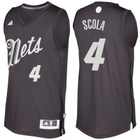 Men's Brooklyn Nets #4 Luis Scola Black 2016-2017 Christmas Day NBA Swingman Jersey